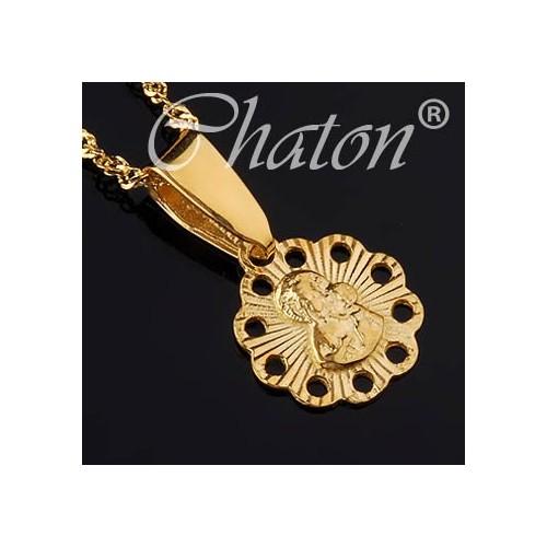 Wisiorek złoty z Matką Boską, mały medalik