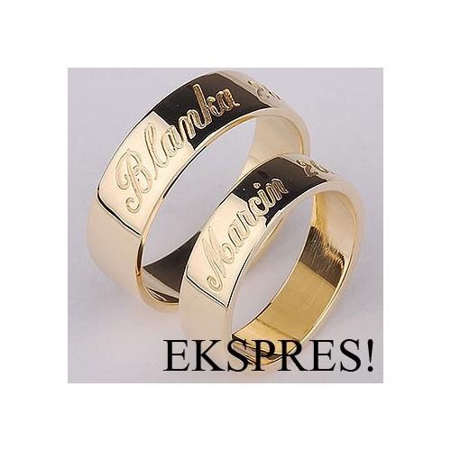 Złote obrączki ślubne z grawerem na zewnątrz EXPRESS