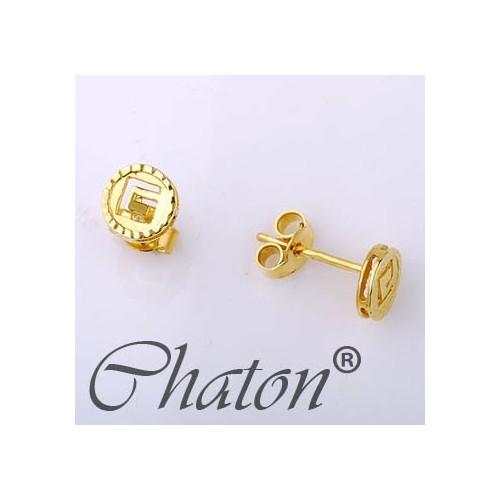 Kolczyki złote z greckim wzorem na zatyczkę