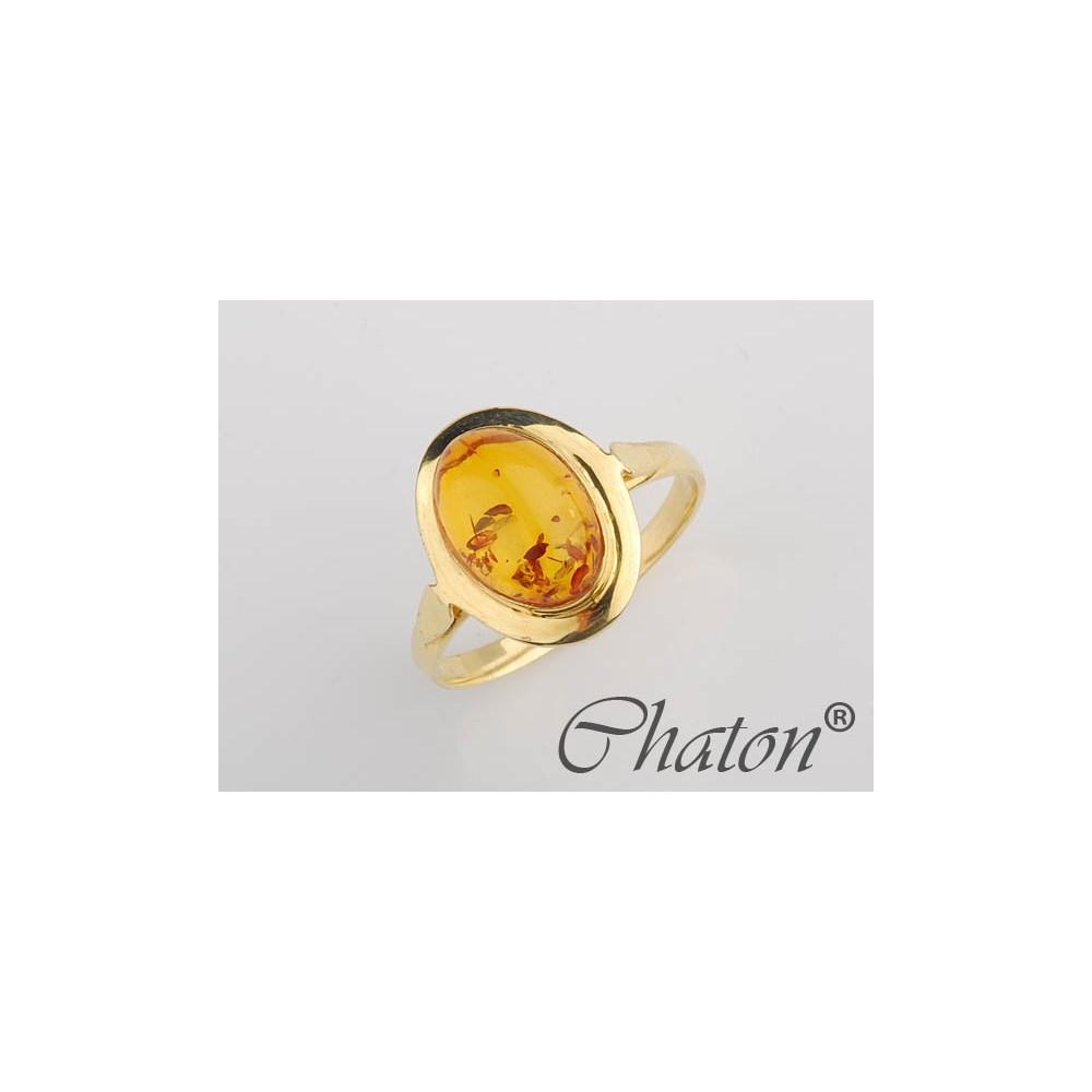 74c0cc779d9789 Złoty pierścionek z Bursztynem