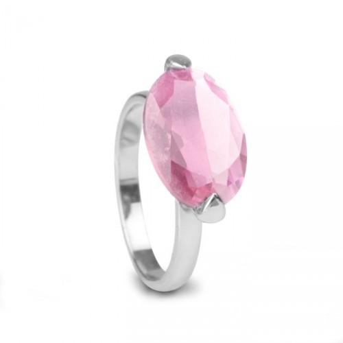 Pierścionek LUXENTER różowy kwarc
