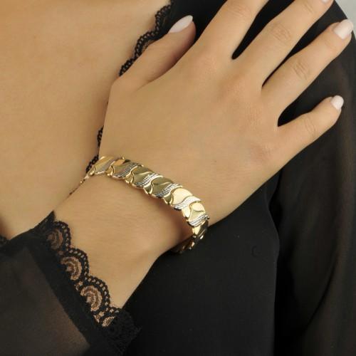 Bransoleta dwukolorowe złoto 585