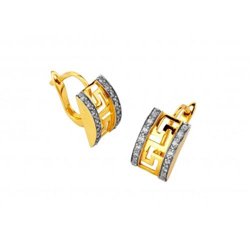 Kolczyki złote szerokie ażurowe z greckim meandrem