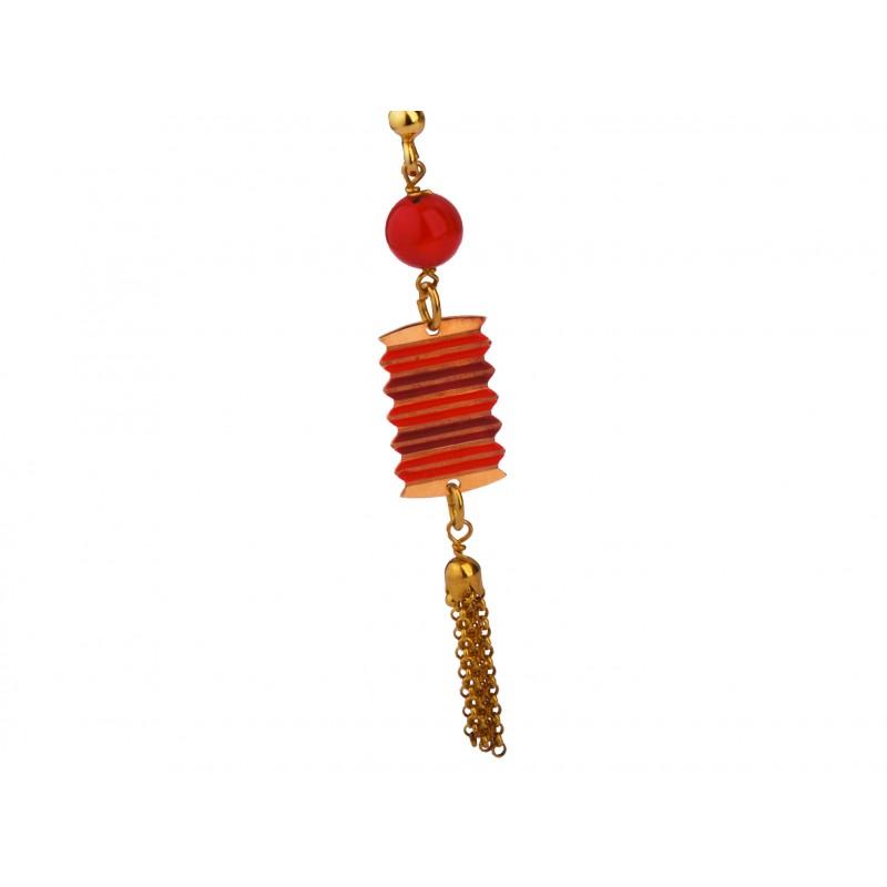 Kolczyki laleczki Kokeshi czerwone