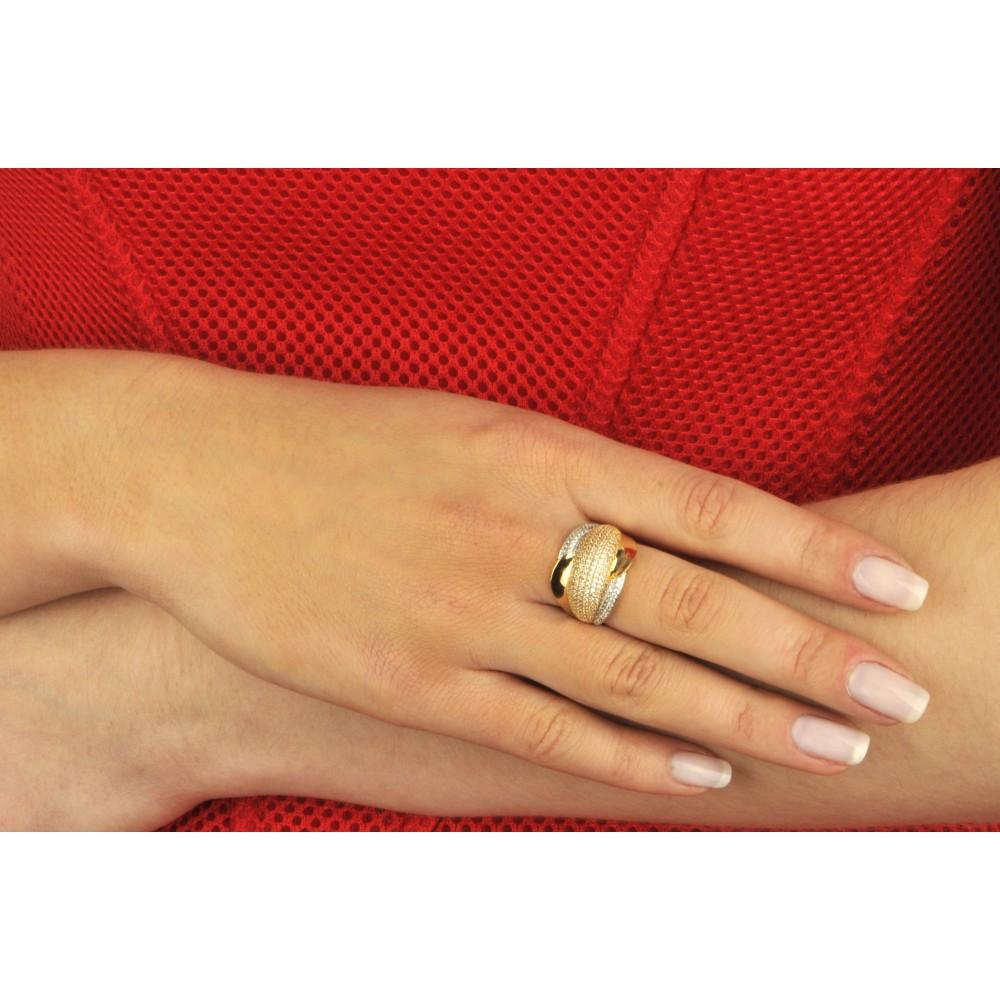 bf33f3bf6489a9 Pierścionek złoty obrączkowy z cyrkoniami - Chaton Jubiler